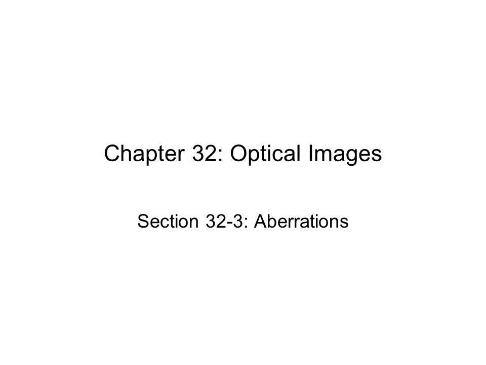 Chapter 32: Optical Images Section 32-3: Aberrations