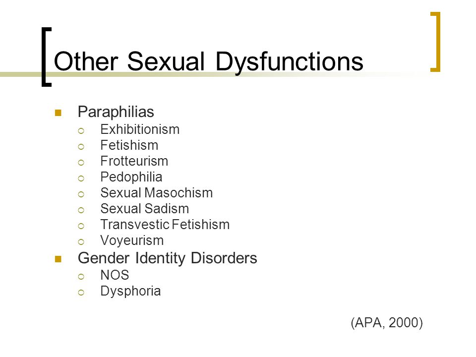Other Sexual Dysfunctions Paraphilias  Exhibitionism  Fetishism  Frotteurism  Pedophilia  Sexual Masochism  Sexual Sadism  Transvestic Fetishism  Voyeurism Gender Identity Disorders  NOS  Dysphoria (APA, 2000)