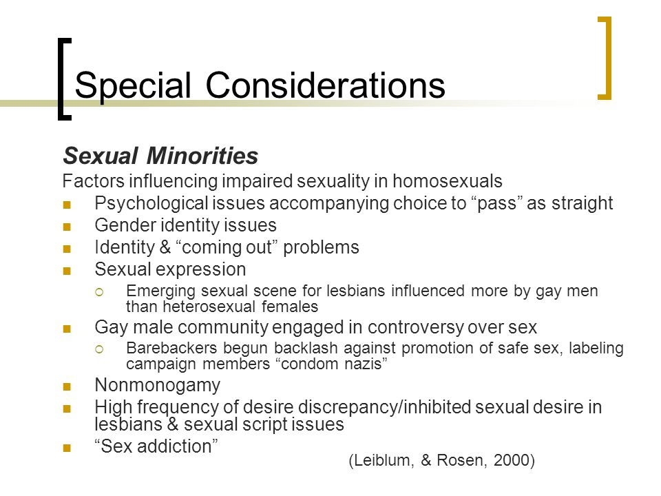 "Special Considerations Sexual Minorities Factors influencing impaired sexuality in homosexuals Psychological issues accompanying choice to ""pass"" as s"