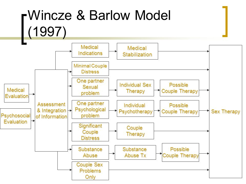 Wincze & Barlow Model (1997) MedicalEvaluation PsychosocialEvaluation Assessment & Integration of Information MedicalIndications Minimal Couple Distre