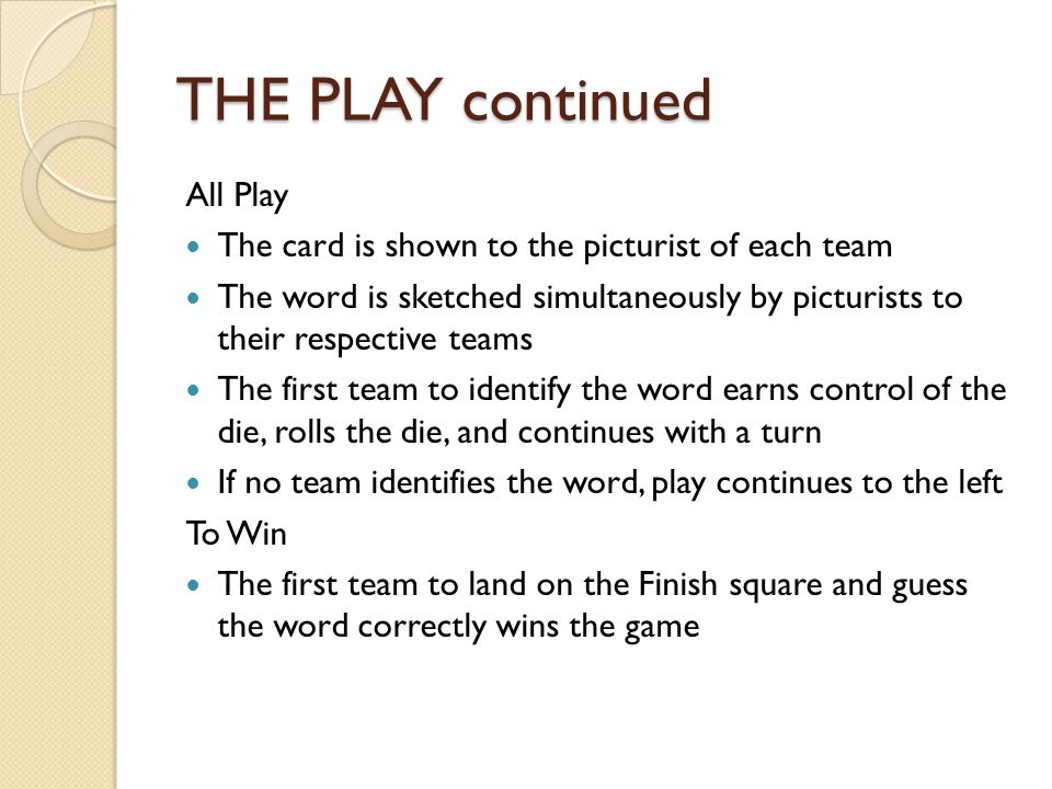 THE PLAY continued All Play The card is shown to the picturist of each team The word is sketched simultaneously by picturists to their respective teams The first team to identify the word earns control of the die, rolls the die, and continues with a turn If no team identifies the word, play continues to the left To Win The first team to land on the Finish square and guess the word correctly wins the game