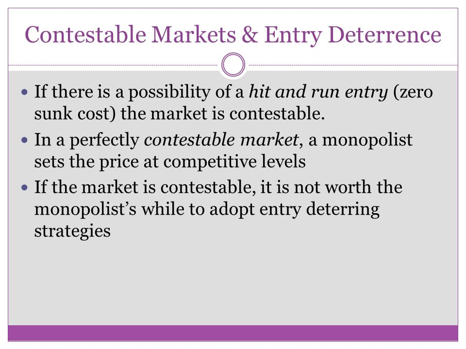 Entry Deterring Strategies Some examples of entry deterring strategies are limit pricing, predatory pricing and capacity expansion. For these strategi