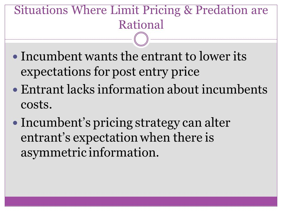 Is Predatory Pricing Rational? Simple economic models indicate that predatory pricing is irrational Either the firms' pricing strategies are irrationa