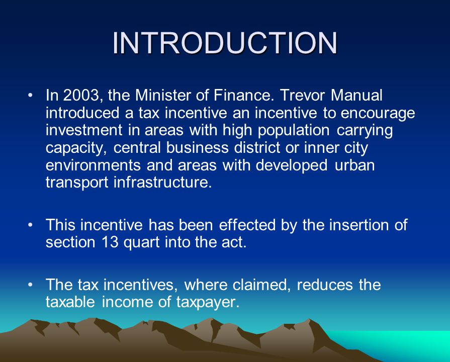 INTRODUCTION In 2003, the Minister of Finance.