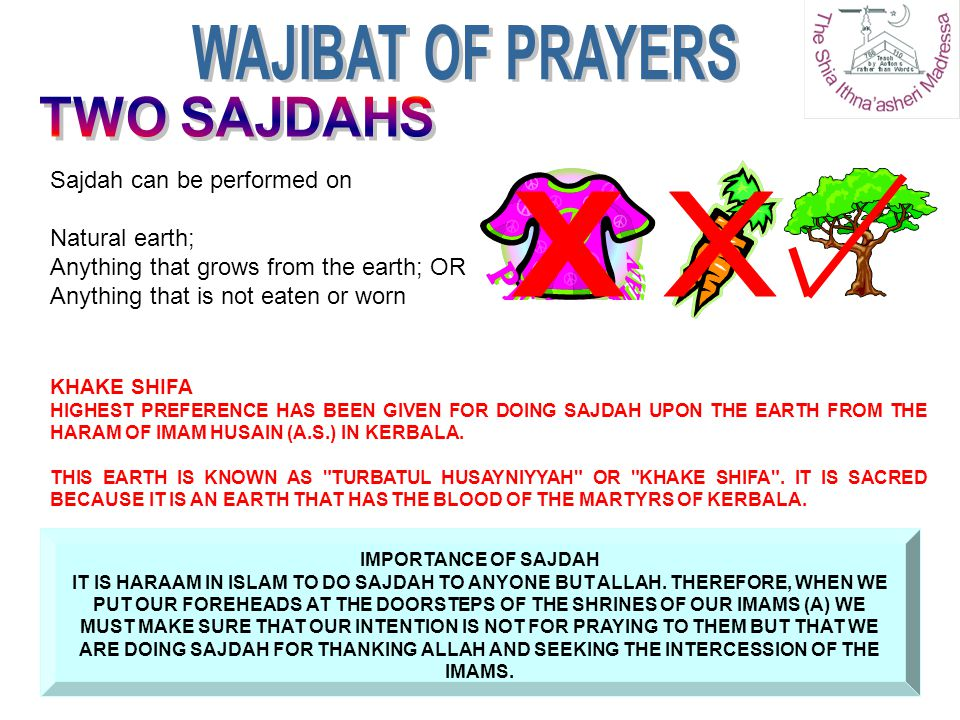 Sajdah can be performed on Natural earth; Anything that grows from the earth; OR Anything that is not eaten or worn IMPORTANCE OF SAJDAH IT IS HARAAM