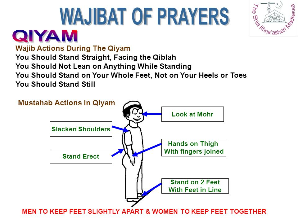 Wajib Actions During The Qiyam You Should Stand Straight, Facing the Qiblah You Should Not Lean on Anything While Standing You Should Stand on Your Wh