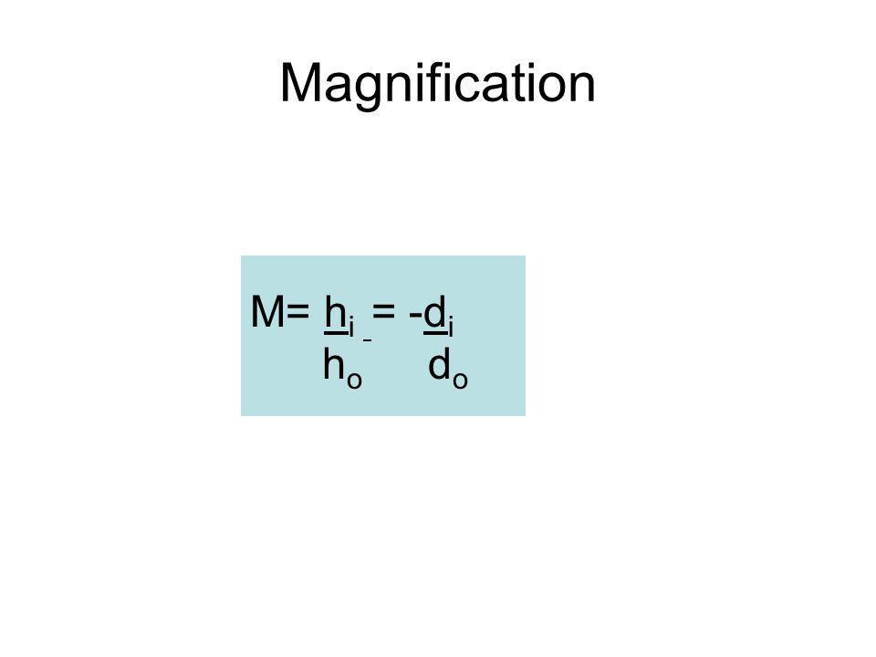 Magnification M= h i = -d i h o d o