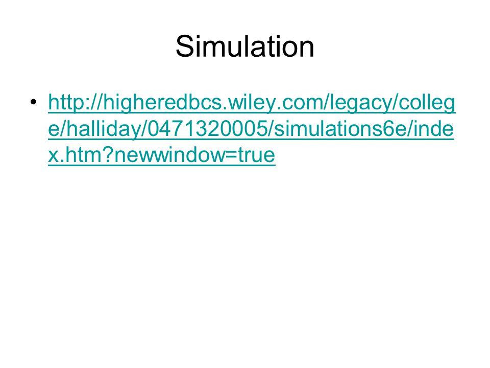 Simulation http://higheredbcs.wiley.com/legacy/colleg e/halliday/0471320005/simulations6e/inde x.htm?newwindow=truehttp://higheredbcs.wiley.com/legacy