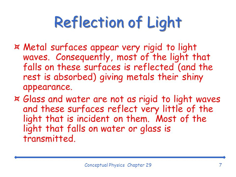 Conceptual Physics Chapter 297 Reflection of Light ¤Metal surfaces appear very rigid to light waves.