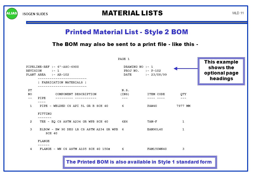 ISOGEN SLIDES MATERIAL LISTS ALIAS MLD 11 Printed Material List - Style 2 BOM The BOM may also be sent to a print file - like this - PAGE 1 PIPELINE-R