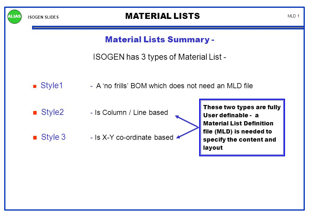 ISOGEN SLIDES MATERIAL LISTS ALIAS MLD 1 Material Lists Summary - ISOGEN has 3 types of Material List - Style1 - A 'no frills' BOM which does not need