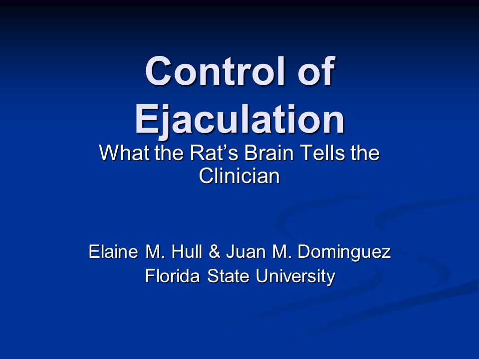Control of Ejaculation What the Rat's Brain Tells the Clinician Elaine M.