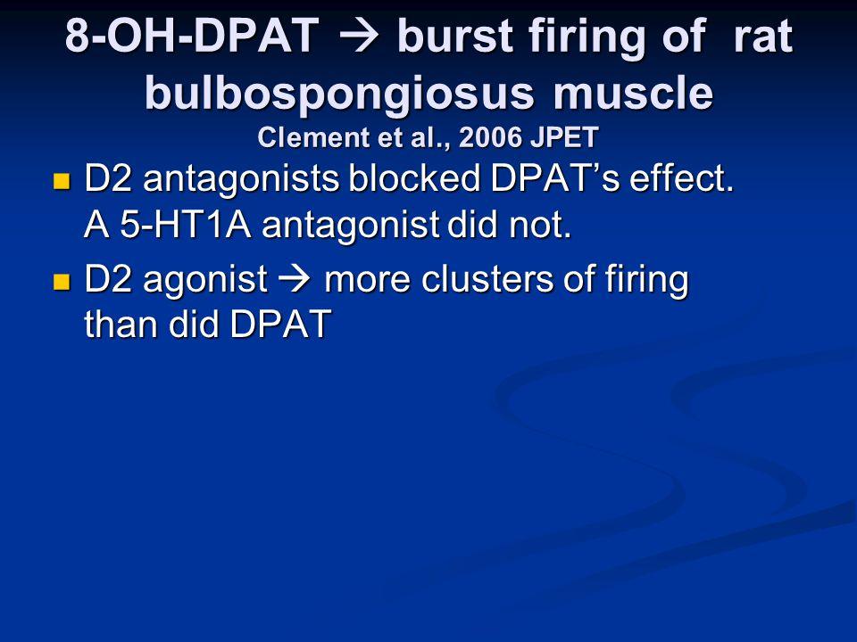 8-OH-DPAT  burst firing of rat bulbospongiosus muscle Clement et al., 2006 JPET D2 antagonists blocked DPAT's effect.