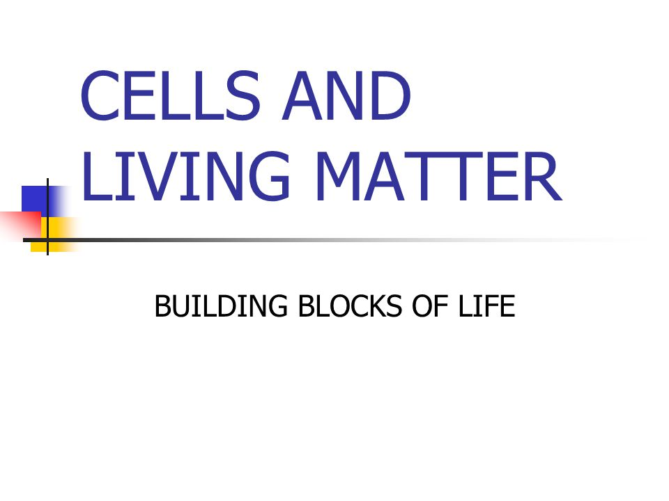 CELLS AND LIVING MATTER BUILDING BLOCKS OF LIFE