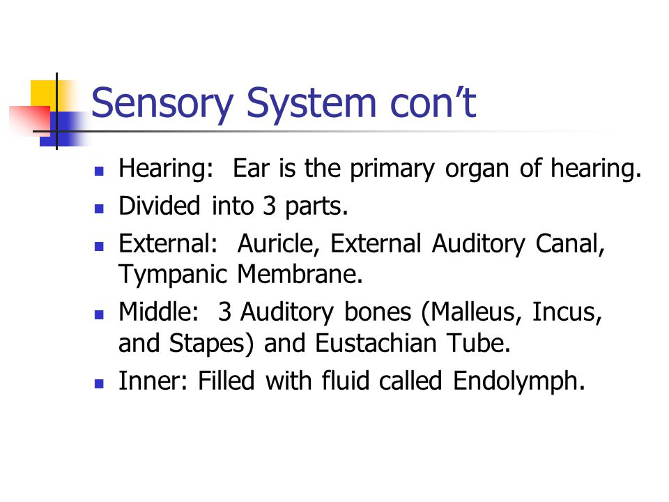 Hearing: Ear is the primary organ of hearing.Divided into 3 parts.
