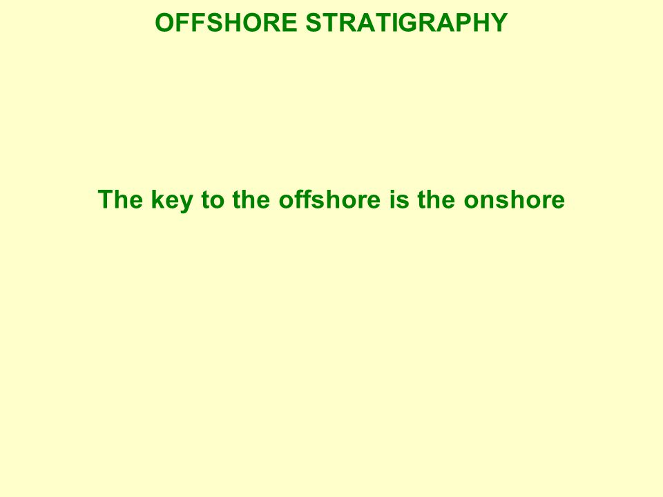 OFFSHORE STRATIGRAPHY The key to the offshore is the onshore