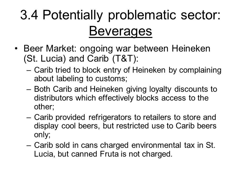 3.4 Potentially problematic sector: Beverages Beer Market: ongoing war between Heineken (St.
