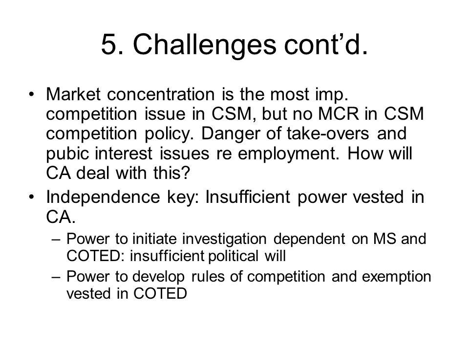 5. Challenges cont'd. Market concentration is the most imp.