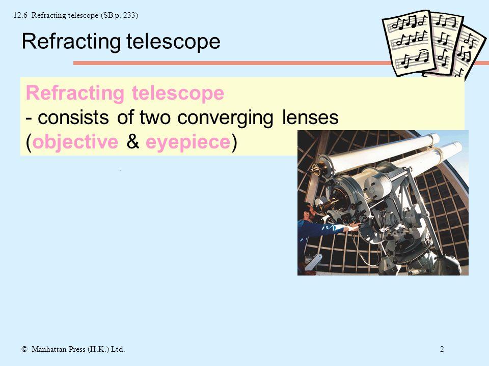 1© Manhattan Press (H.K.) Ltd. Final image at infinity Eye-ring Eye-ring 12.6 Refracting telescope