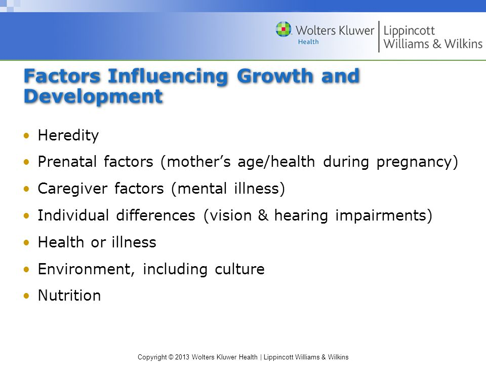 Copyright © 2013 Wolters Kluwer Health | Lippincott Williams & Wilkins Factors Influencing Growth and Development Heredity Prenatal factors (mother's