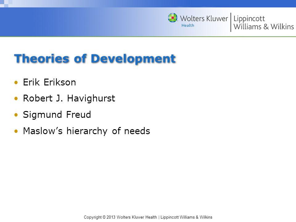 Copyright © 2013 Wolters Kluwer Health | Lippincott Williams & Wilkins Theories of Development Erik Erikson Robert J. Havighurst Sigmund Freud Maslow'