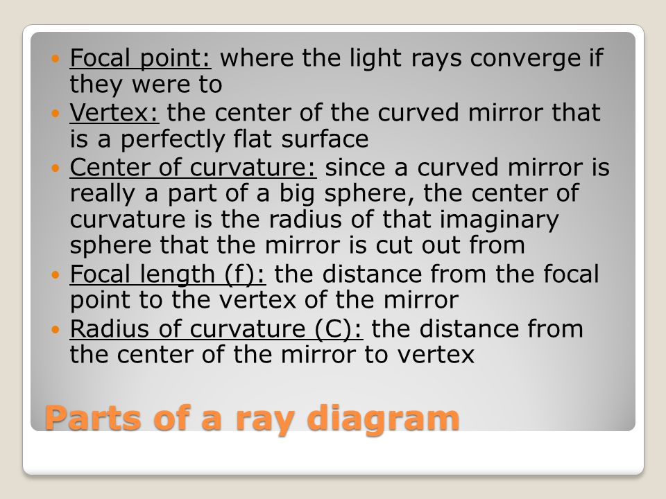 Parts of a ray diagram Focal point: where the light rays converge if they were to Vertex: the center of the curved mirror that is a perfectly flat sur