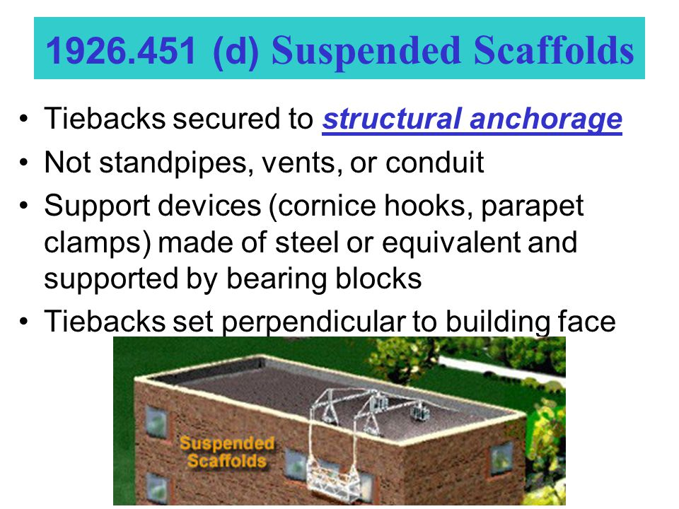 Tiebacks secured to structural anchorage Not standpipes, vents, or conduit Support devices (cornice hooks, parapet clamps) made of steel or equivalent and supported by bearing blocks Tiebacks set perpendicular to building face 1926.451 (d) Suspended Scaffolds