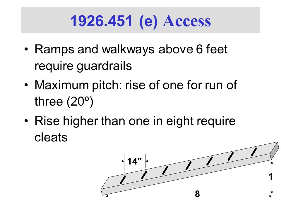 1926.451 (e) Access Ramps and walkways above 6 feet require guardrails Maximum pitch: rise of one for run of three (20º) Rise higher than one in eight require cleats 1 8 14