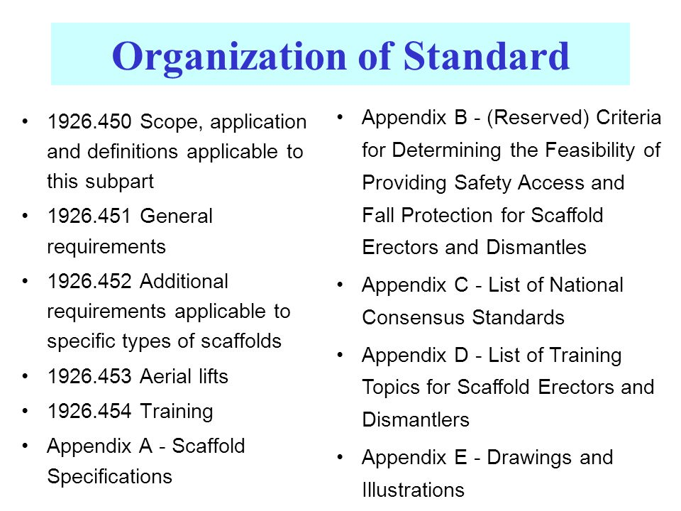 Organization of Standard 1926.450 Scope, application and definitions applicable to this subpart 1926.451 General requirements 1926.452 Additional requirements applicable to specific types of scaffolds 1926.453 Aerial lifts 1926.454 Training Appendix A - Scaffold Specifications Appendix B - (Reserved) Criteria for Determining the Feasibility of Providing Safety Access and Fall Protection for Scaffold Erectors and Dismantles Appendix C - List of National Consensus Standards Appendix D - List of Training Topics for Scaffold Erectors and Dismantlers Appendix E - Drawings and Illustrations