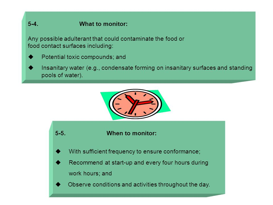 5-4. What to monitor: Any possible adulterant that could contaminate the food or food contact surfaces including:  Potential toxic compounds; and  I