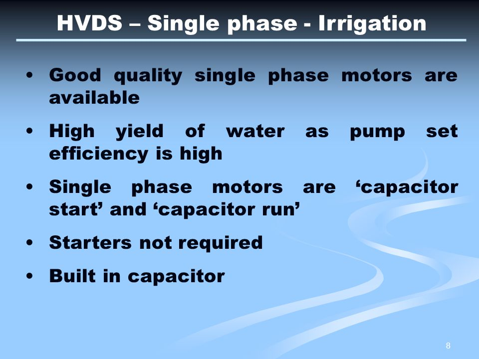 9 Additional advantages of HVDS Unauthorised hooking of loads is not possible as LT lines are short and insulated System power factor improves (0.95) causing easy reactive power control As only two or maximum (3) pump sets are connected on each DTR ; the consumers assume ownership and responsibility High quality of power supply earns total consumer satisfaction