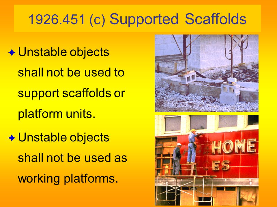 1926.451 General Requirements (c) Criteria for supported scaffolds (2) Base plates mud sills Mud sills Base plate