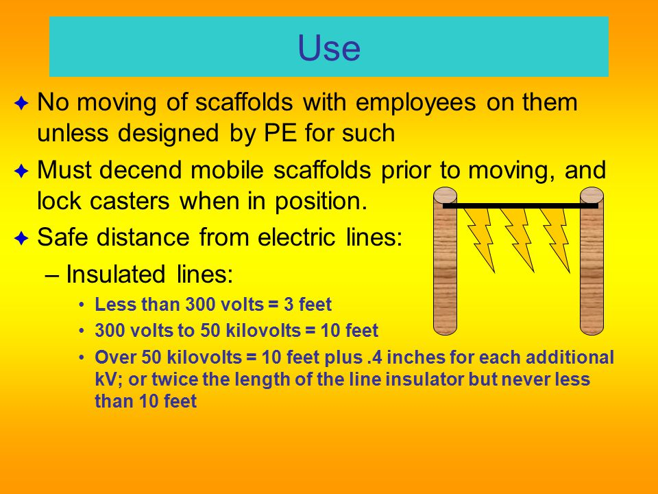 USE  No makeshift devices to increase height – The Drywall Bucket Rule  No ladder to increase height except on large area and: – Side thrust countered, platform secured – Ladder legs on same platform & secured  Platforms not to deflect > 1/60 of span Ladders and Scaffolds X & L SUBPARTS 47