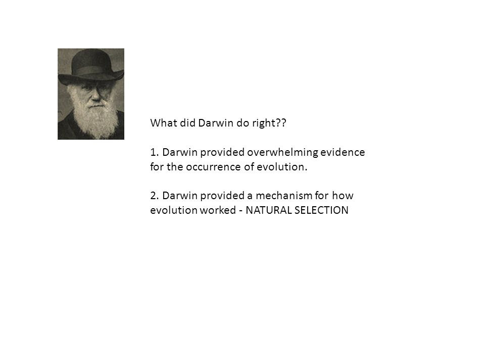 What did Darwin do right?? 1. Darwin provided overwhelming evidence for the occurrence of evolution. 2. Darwin provided a mechanism for how evolution