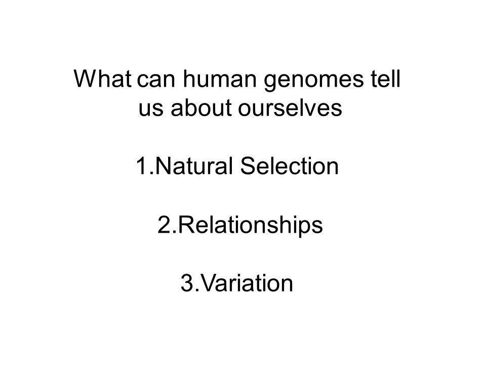 What can human genomes tell us about ourselves 1.Natural Selection 2.Relationships 3.Variation