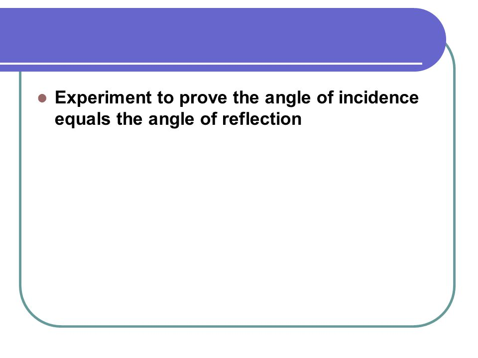 Experiment to prove the angle of incidence equals the angle of reflection