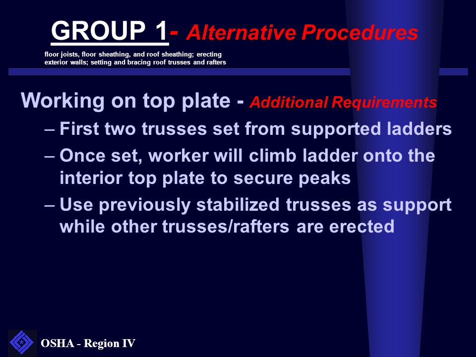 OSHA - Region IV GROUP 1- Alternative Procedures Working on top plate - Additional Requirements –First two trusses set from supported ladders –Once se