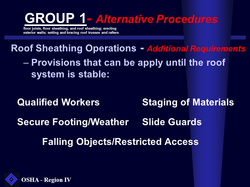 OSHA - Region IV GROUP 1- Alternative Procedures Roof Sheathing Operations - Additional Requirements –Provisions that can be apply until the roof syst