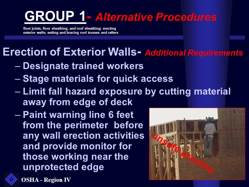 OSHA - Region IV GROUP 1- Alternative Procedures Erection of Exterior Walls - Additional Requirements –Designate trained workers –Stage materials for