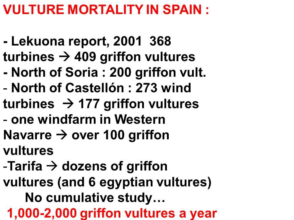 VULTURE MORTALITY IN SPAIN : - Lekuona report, 2001 368 turbines  409 griffon vultures - North of Soria : 200 griffon vult.
