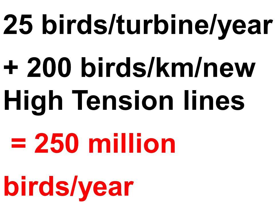 25 birds/turbine/year + 200 birds/km/new High Tension lines = 250 million birds/year