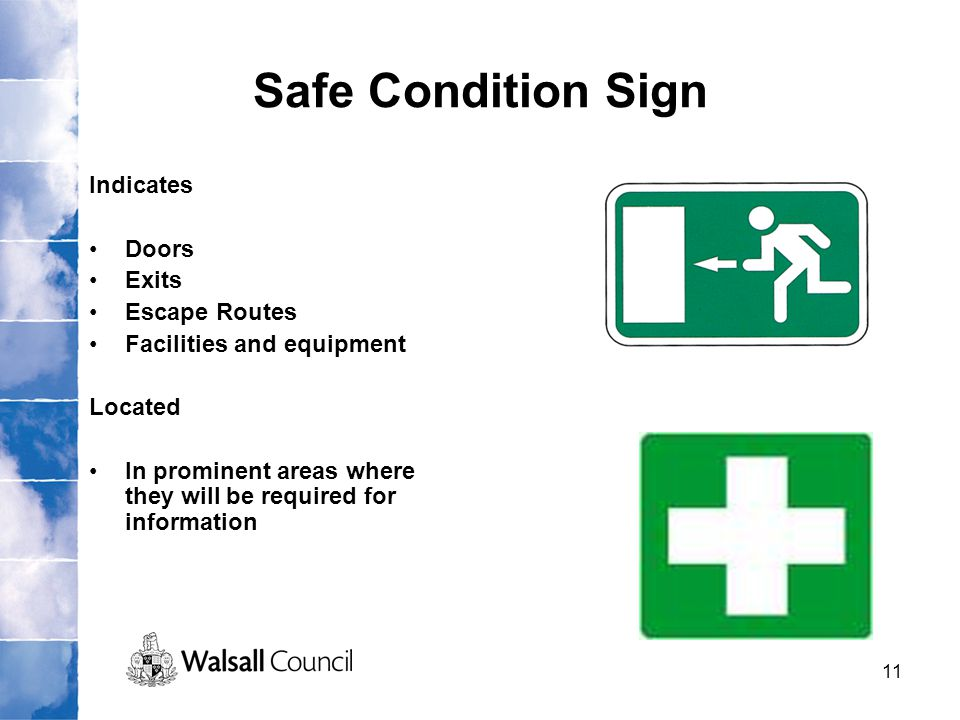 11 Safe Condition Sign Indicates Doors Exits Escape Routes Facilities and equipment Located In prominent areas where they will be required for informa
