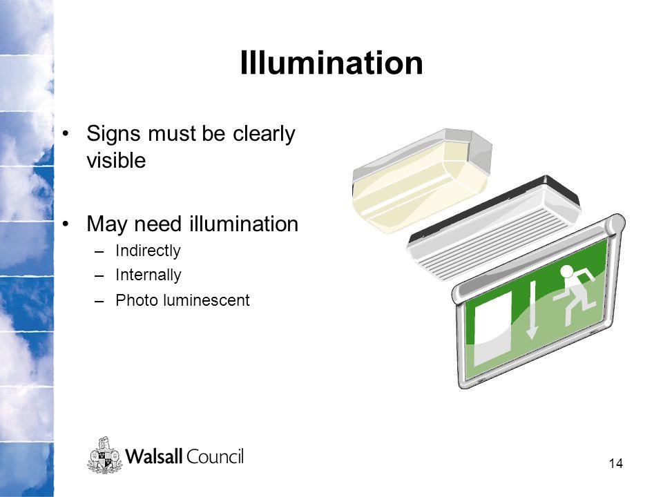14 Illumination Signs must be clearly visible May need illumination –Indirectly –Internally –Photo luminescent