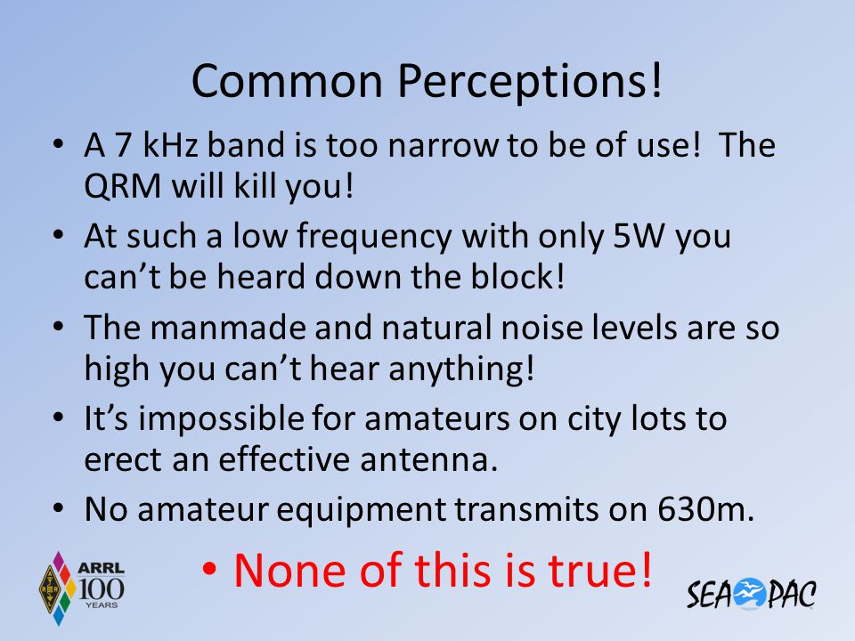 Common Perceptions! A 7 kHz band is too narrow to be of use! The QRM will kill you! At such a low frequency with only 5W you can't be heard down the b