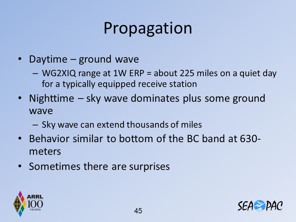 Propagation Daytime – ground wave – WG2XIQ range at 1W ERP = about 225 miles on a quiet day for a typically equipped receive station Nighttime – sky w