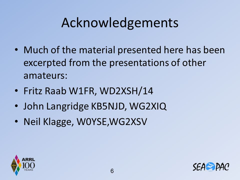 Acknowledgements Much of the material presented here has been excerpted from the presentations of other amateurs: Fritz Raab W1FR, WD2XSH/14 John Lang