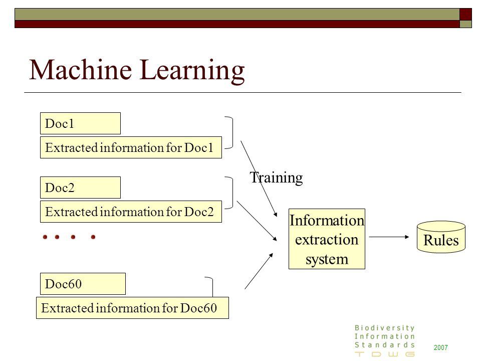 2007 Machine Learning Information extraction system Rules Doc1 Extracted information for Doc1 Doc2 Extracted information for Doc2 Doc60 Extracted information for Doc60 Training