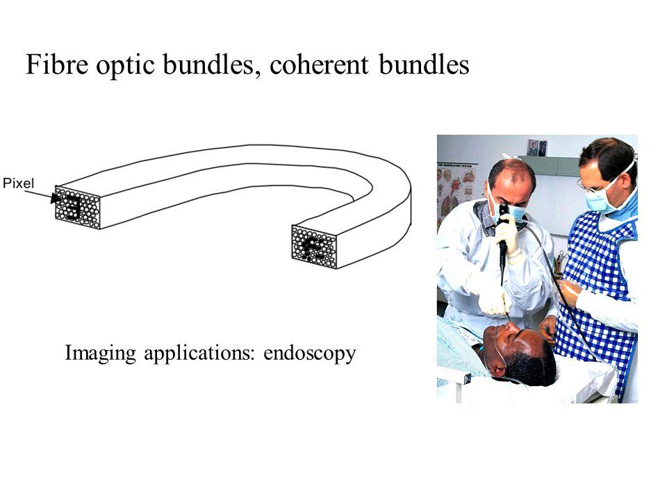 Fibre optic bundles, coherent bundles Imaging applications: endoscopy