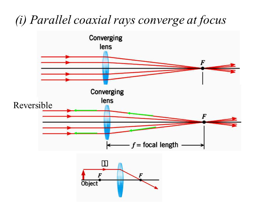 (i) Parallel coaxial rays converge at focus Reversible