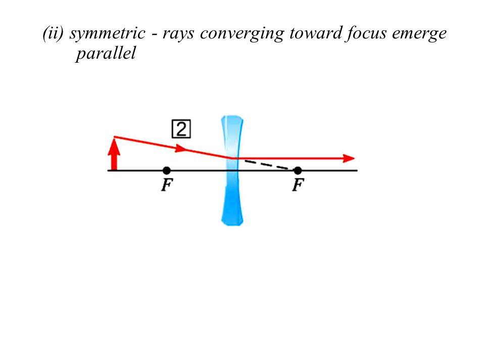 (ii) symmetric - rays converging toward focus emerge parallel